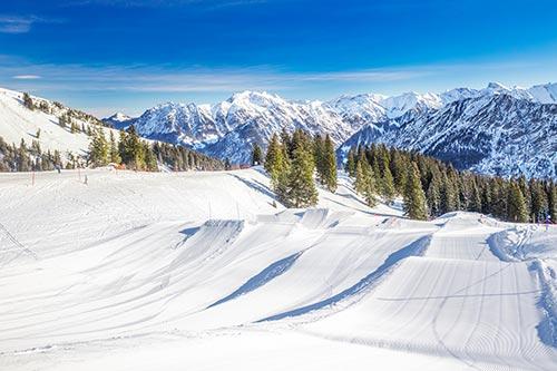 amazing ski resort with ski jumps